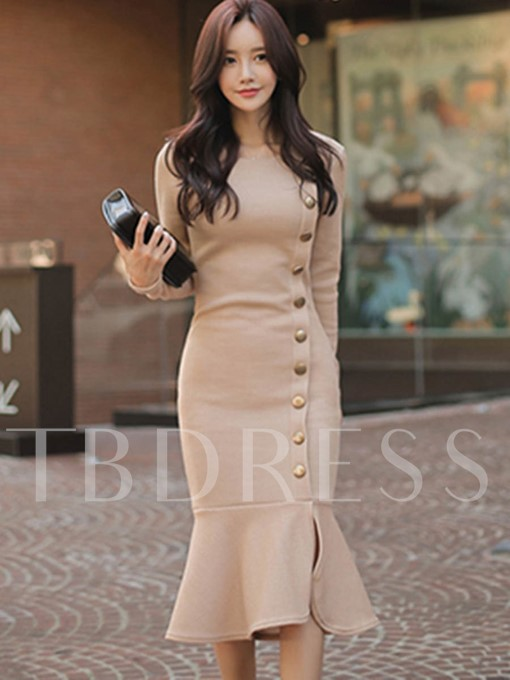 Light Apricot Fishtail Women's Sheath Dress