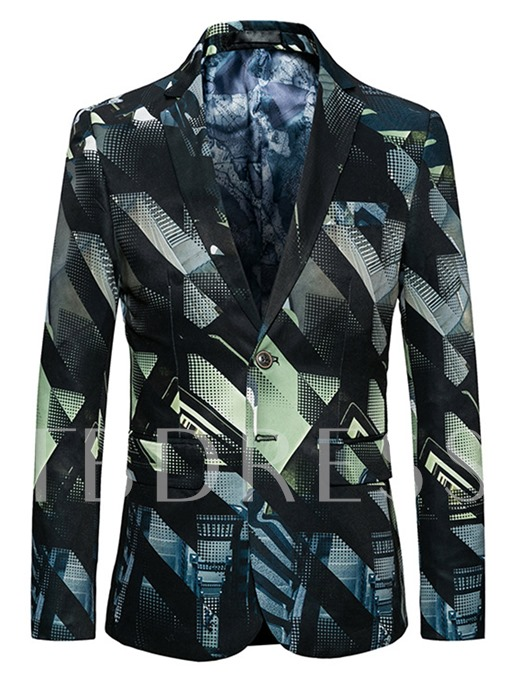 Notched Collar Double Button Printed Slim Fit Men's Blazer