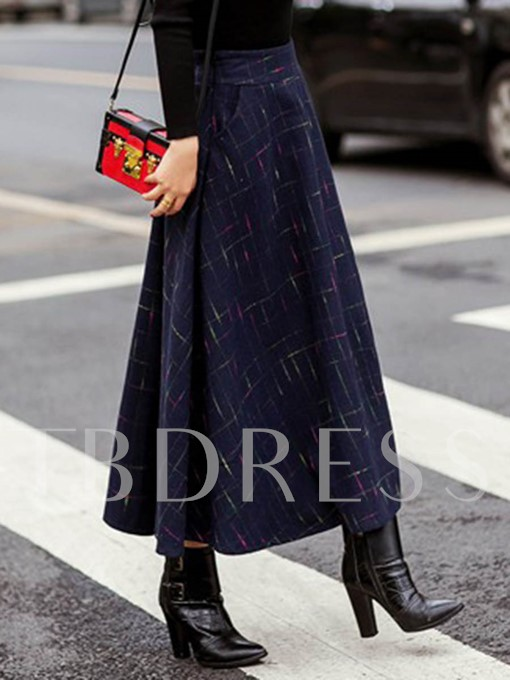 Winter A-Line Thicker Pleated Women's Midi Skirt