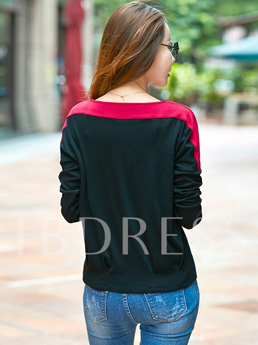 Color Block Round Neck Long Sleeve Women's T-Shirt