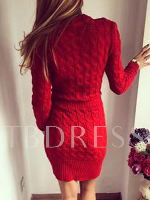Solid Color Long Sleeve Women's Sweater Dress