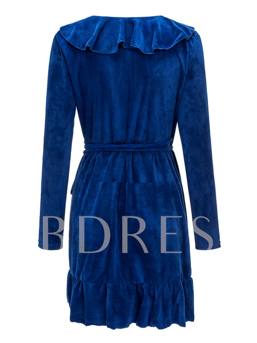 Blue Velvet Falbala Women's Long Sleeve Dress