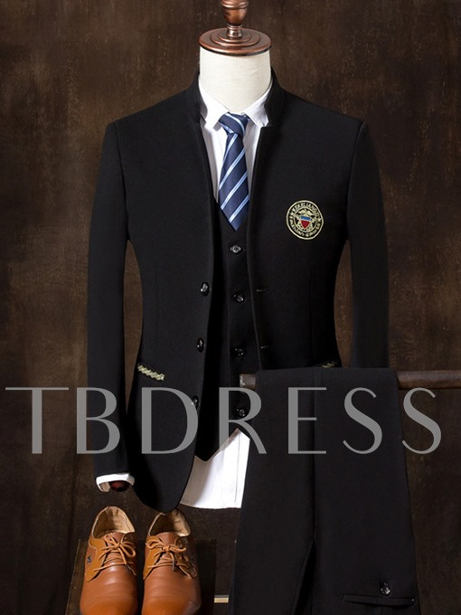 Chinese Style Embroidery Stand Collar Solid Color Slim Fit Men's Dress Suit