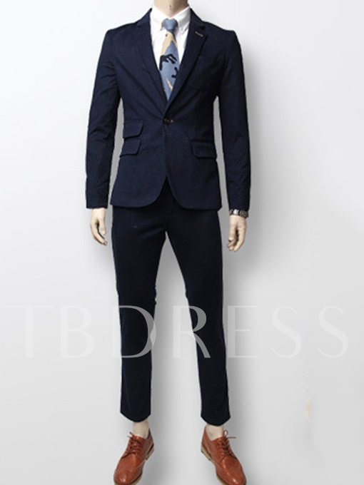 Notched Collar One Button Solid Color Cotton Blend Slim Fit Casual Men's Dress Suit
