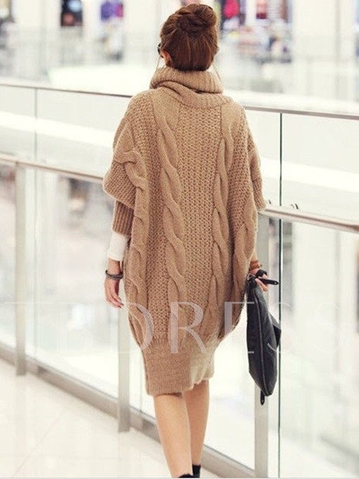 Plain Loose Batwing Sleeve Single-Breasted Women's Sweater