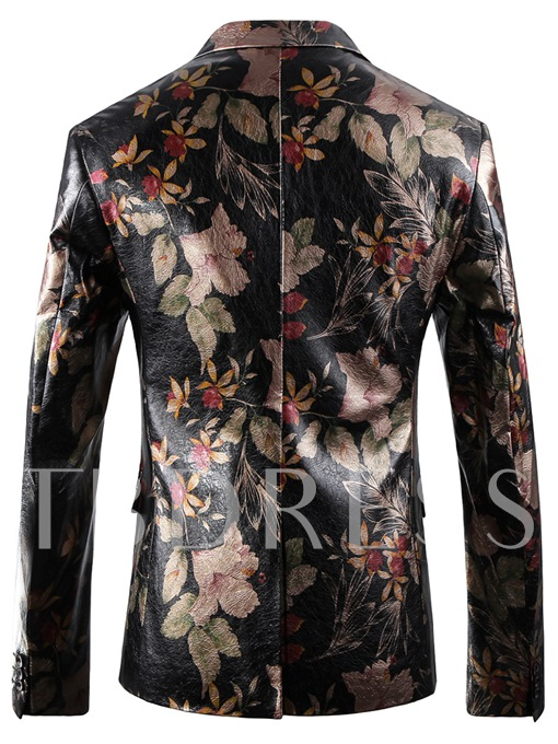England Style Notched Collar One Button Floral Printed Slim Fit Men's Blazer