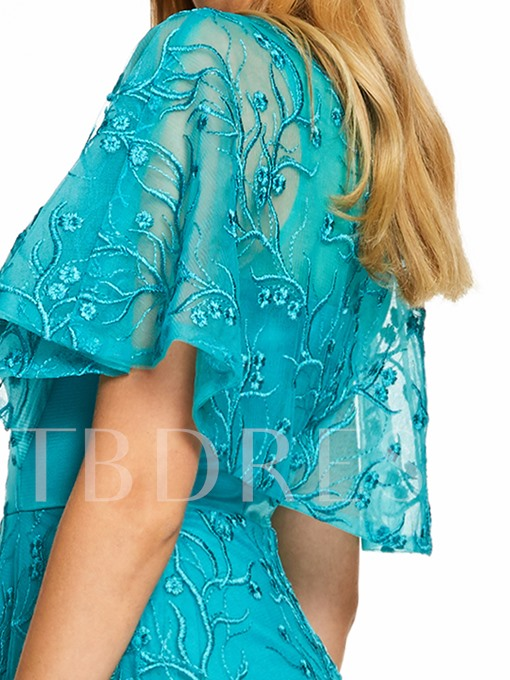 Scoop Neck Cap Sleeves A Line Prom Dress