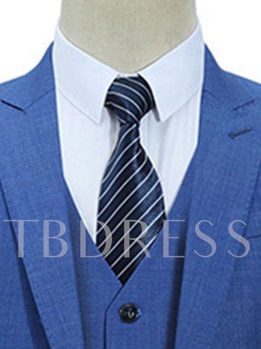 Notched Collar Three Piece Solid Color Thin Slim Fit Men's Dress Suit
