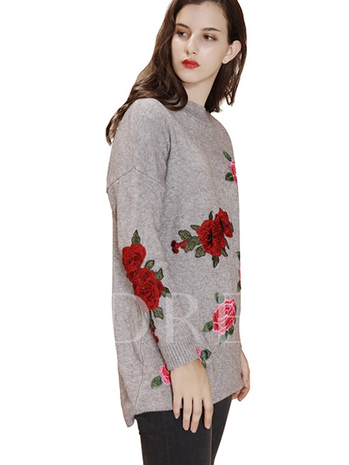 Floral Embroidery Loose Women's Sweater