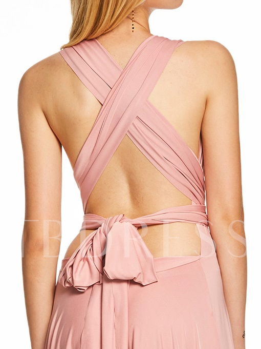 V Neck Backless Pleats A Line Evening Dress