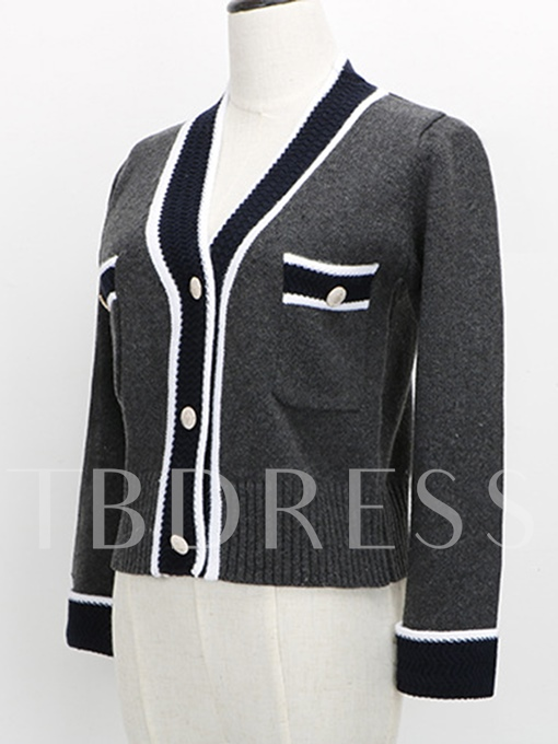 Color Block Single-Breasted Women's Cardigan