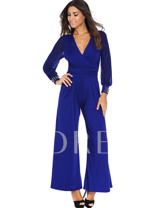 Perspective Long Sleeves Lace Patchwork Women's Jumpsuits