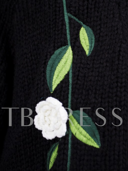 Loose Appliques Flocking Cardigan Vacation Women's Sweater