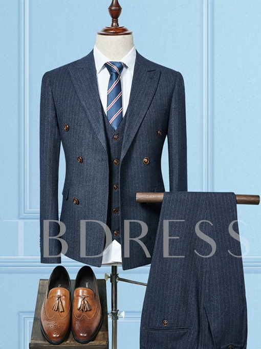 Notched Collar Double-Breasted Stripe Slim Fit Men's Dress Suit
