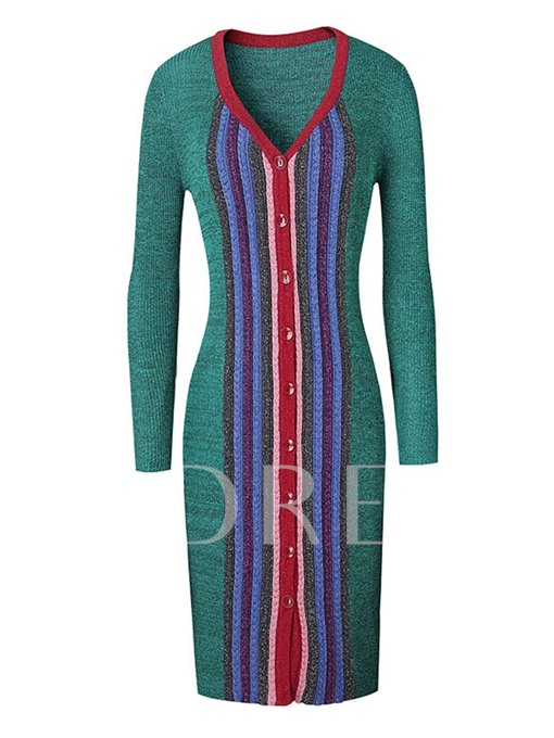 Single-Breasted Striped Women's Sweater Dress