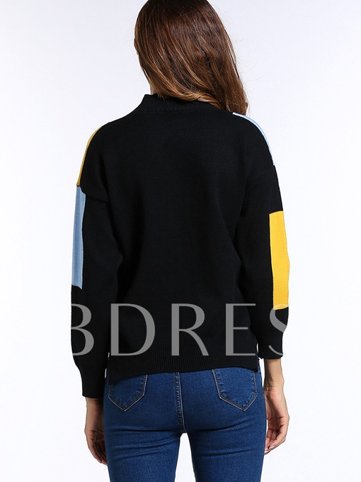 Chic Women's Fall Long Sleeve Color Block Casual Loose Warm Sweater