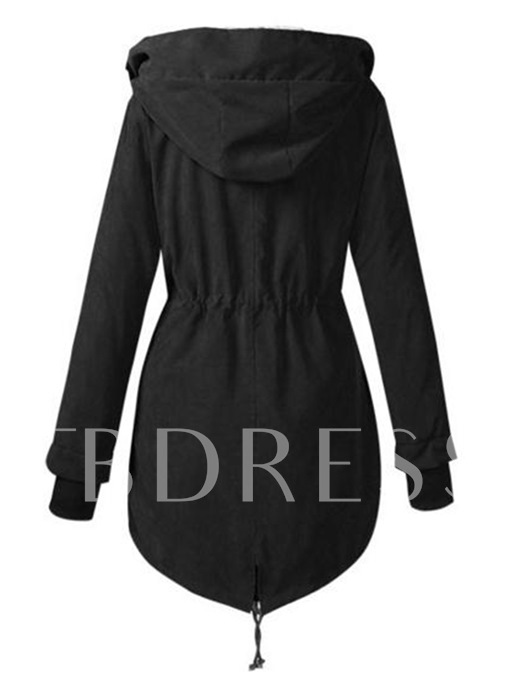 Hooded Thick Lace-up Long Women's Overcoat