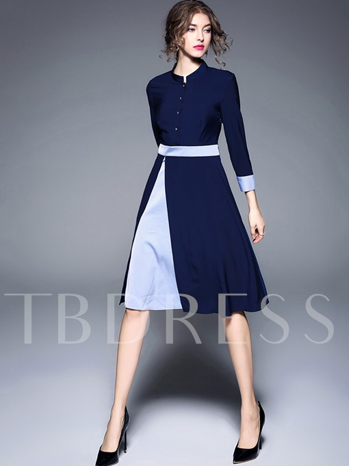 Single-Breasted 3/4 Sleeve Double-Layered Women's Day Dress