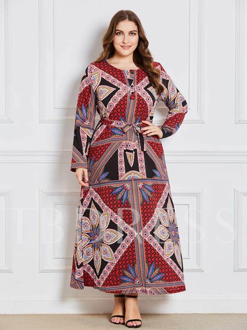 Lace up Plus Size Women's Maxi Dress