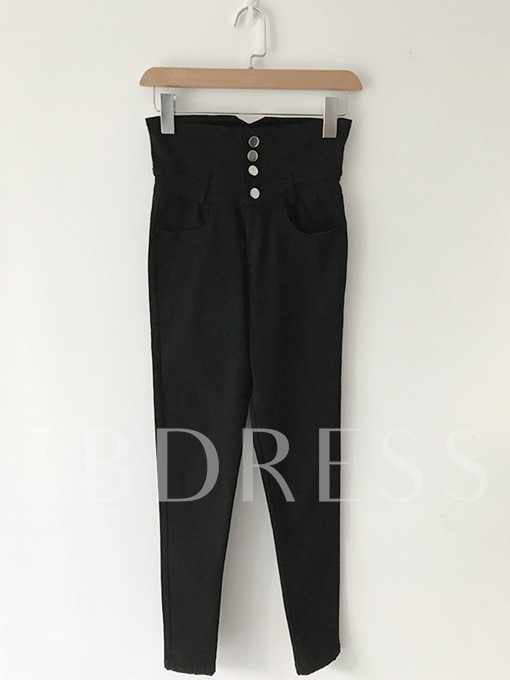 High Waisted Button Women's Casual Pants