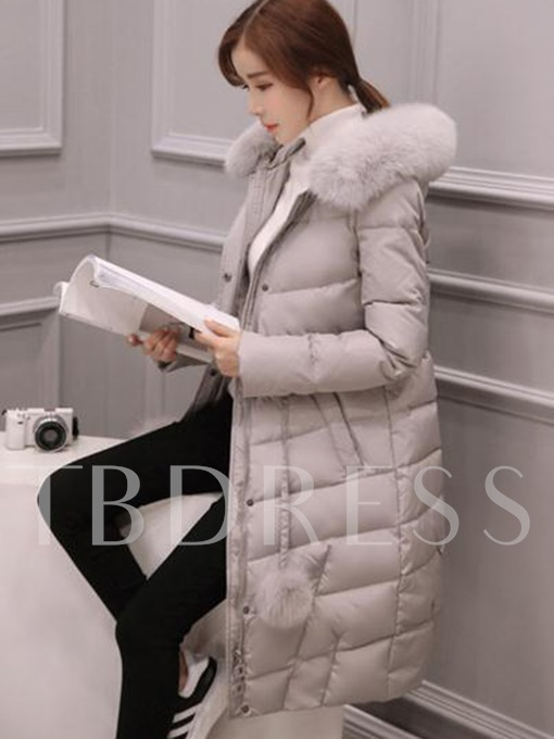 Hooded Faux Hair Bulb Thick Women's Overcoat