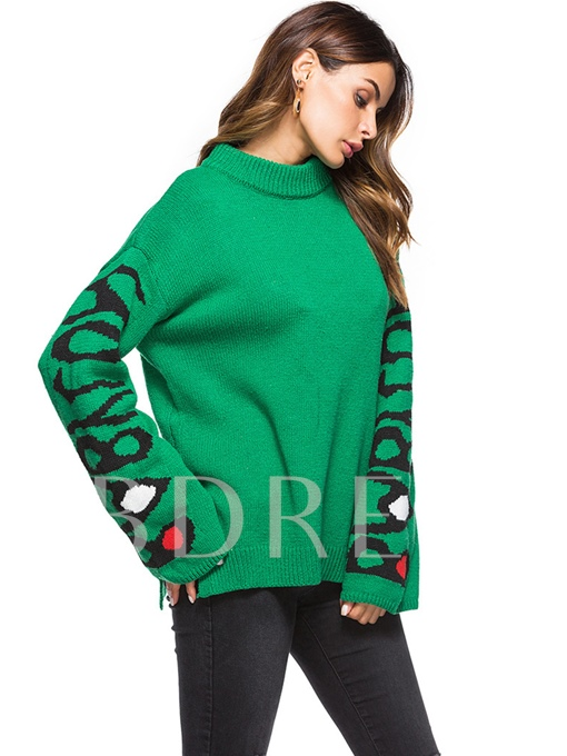 Letter Print Stand Collar Pullover Women's Sweater