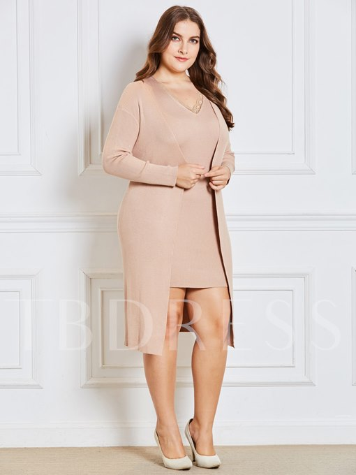 Plus Size V-Neck Women's Sweater And Dress Suit