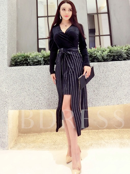 Double-Layered Striped Women's Long Sleeve Dress