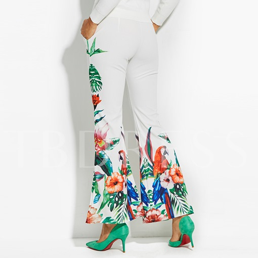 Floral Print Full Length Vacation Women's Bellbottoms