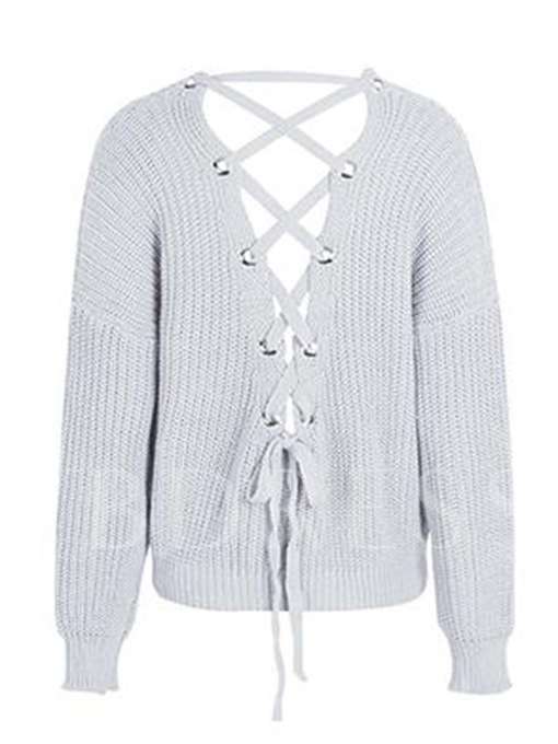 Lace-up V-Neck Backless Women's Sweater