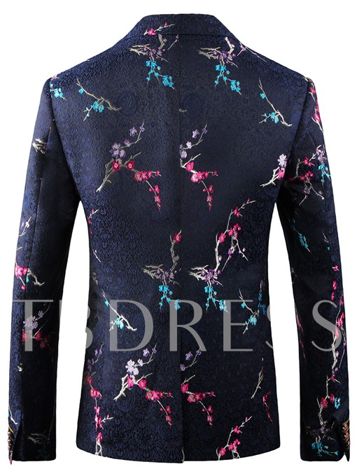 England Style Notched Collar Double Button Floral Printed Slim Fit Men's Blazer