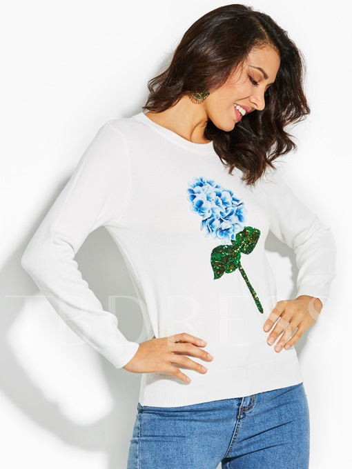 Plain Flower Print Pullover Vacation Women's Sweater