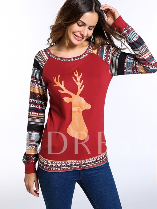 Classy Christmas Tribe Patchwork Cashmere Reindeer Print Women's Sweater