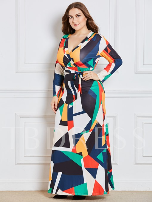 Color Block Plus Size Women's Maxi Dress
