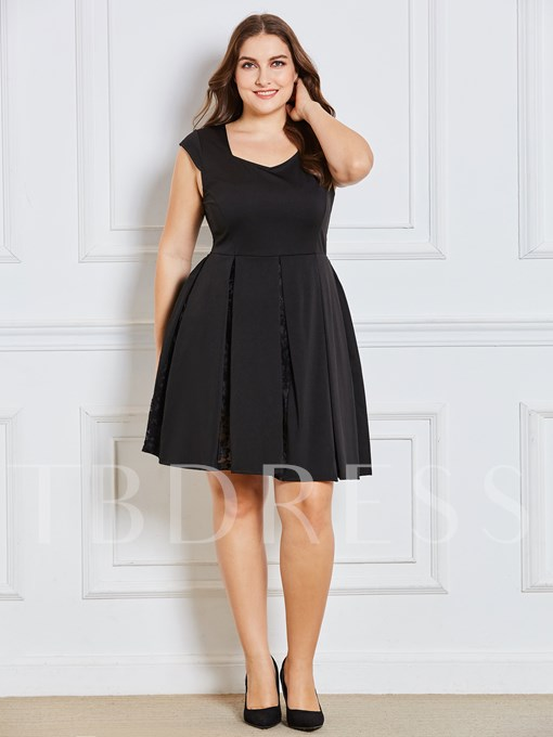 Plus Size Black Square Neck Women's Day Dress