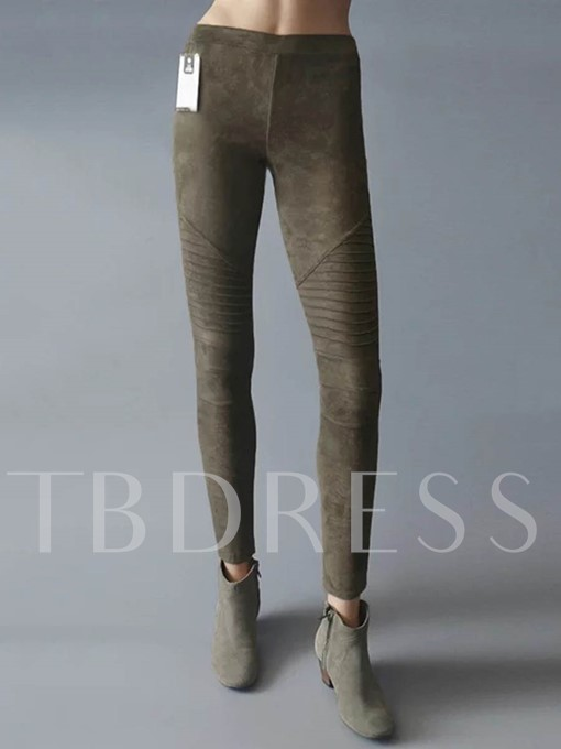 Fall Pleated Elastic Solid Color Women's Leggings