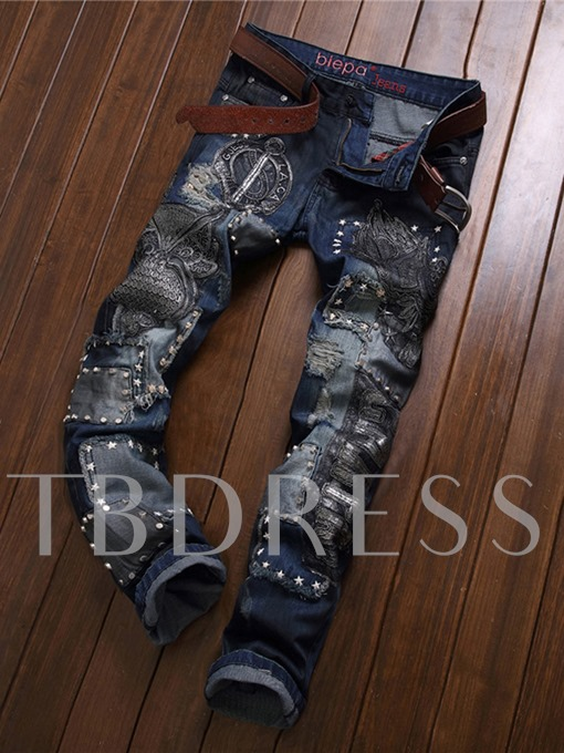 Mid Waist Embroidery Vintage Worn Slim Fit Men's Jeans