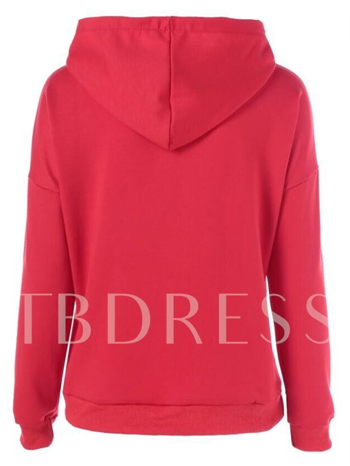 Christmas Patchwork Hooded Letter Print Women's Hoodie
