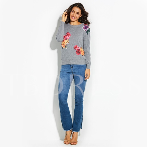 Round Neck Plain Floral Vacation Women's Sweater