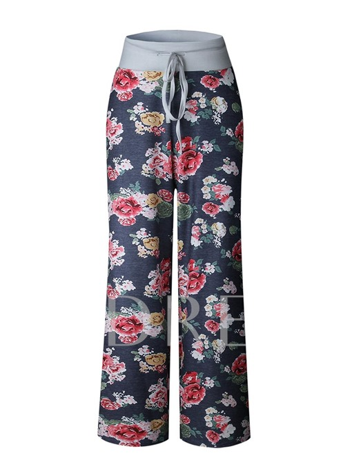 Loose Floral Print Lace-Up Women's Casual Pants