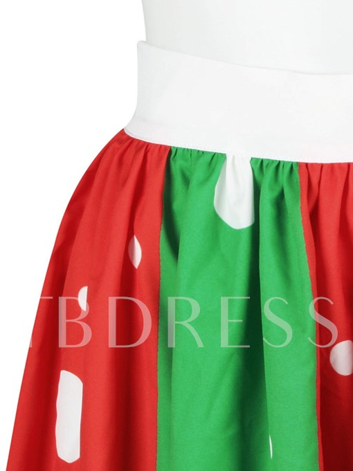 Christmas Mid Calf Pleated Expansion Women's Skirt