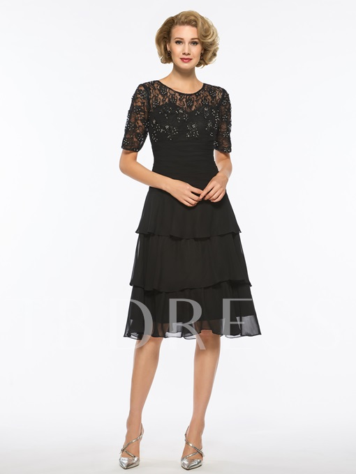 Scoop Neck Beading Half Sleeves Mother Of The Bride Dress