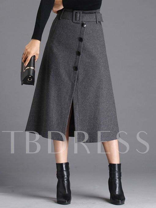 Winter A-Line Single Breasted Belt Women's Skirt