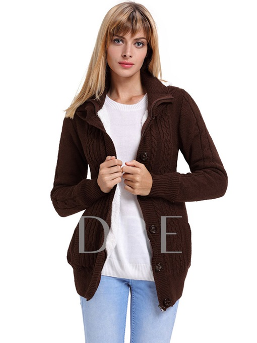 Plain Single-Breasted Hooded Women's Cardigan