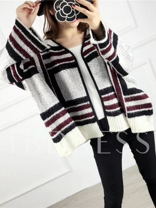 Stripe Loose Color Block Women's Cardigan