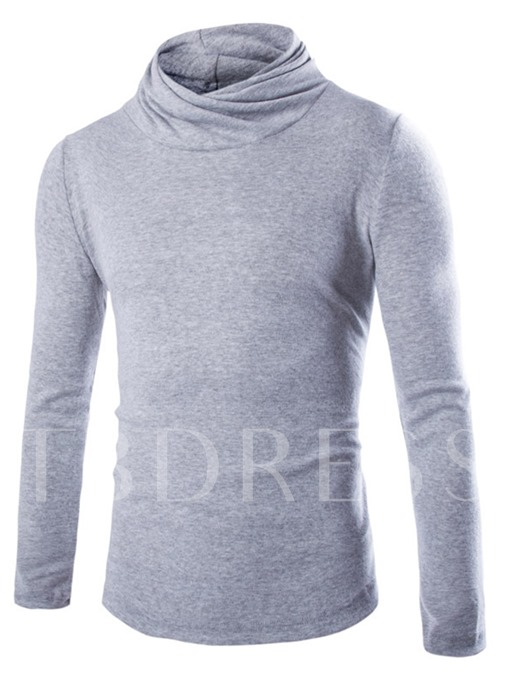 Turtleneck Solid Color Thin Knit Men's Sweater