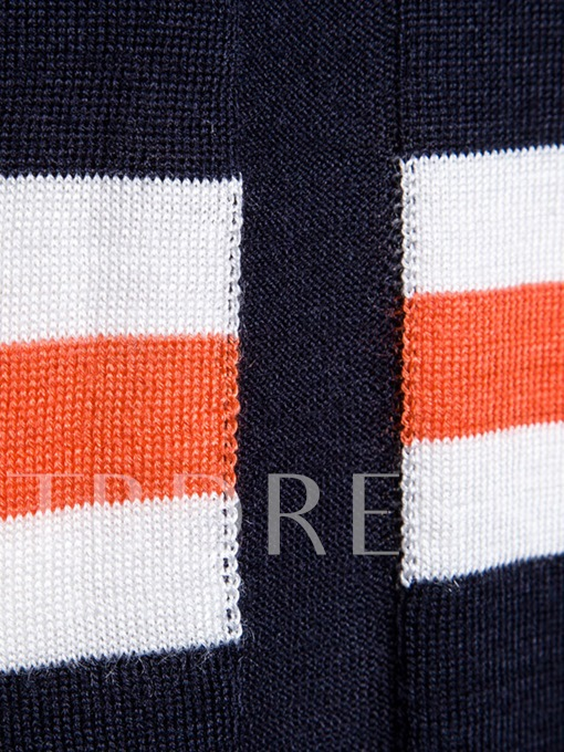 England Style Round Collar Stripe Printed Color Block Slim Knit Men's Sweater