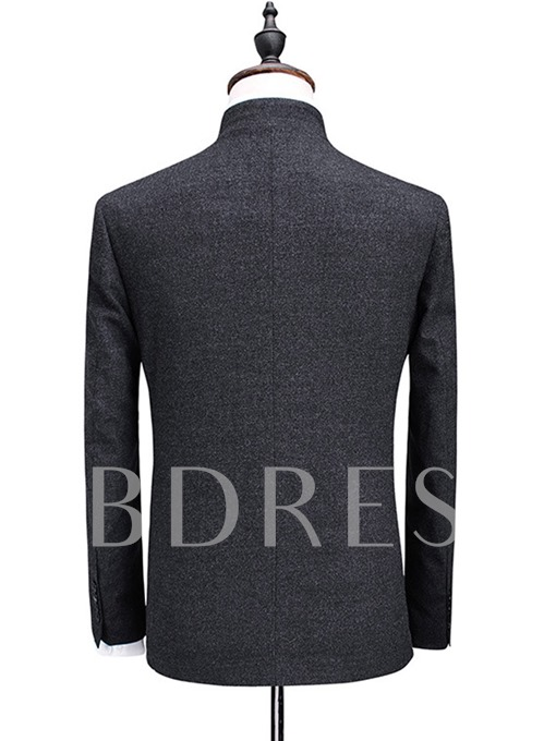 Korean Style Stand Collar Solid Color Single-Breasted Slim Fit Men's Dress Suit