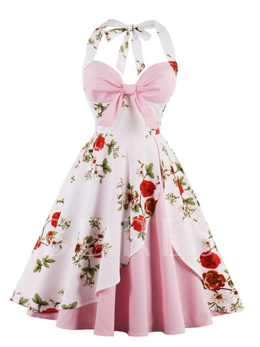 Double-Layered Halter Floral Women's Day Dress