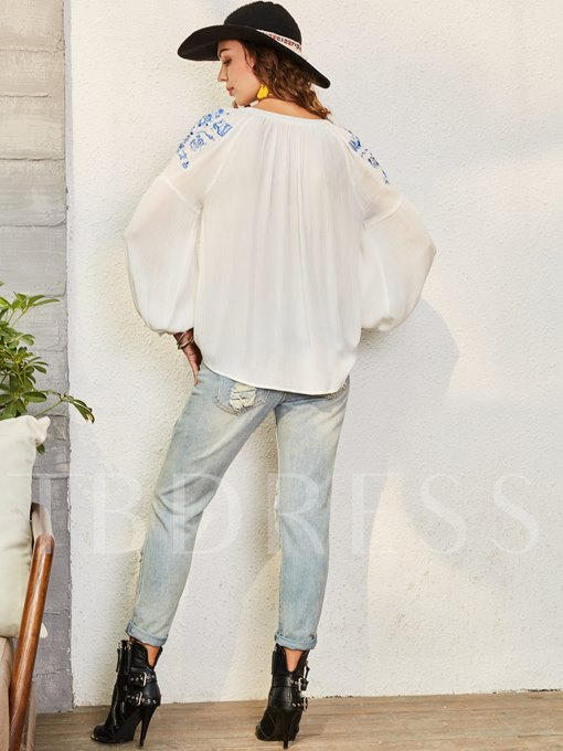 Floral Embroidery Lantern Sleeve Single-Breasted Women's Blouse